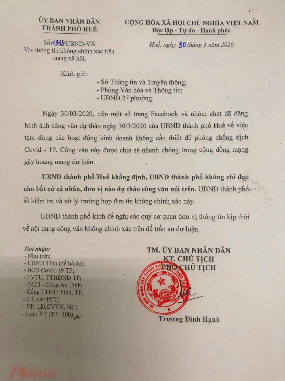 Ông Trương Đình Hạnh, Phó Chủ tịch UBND TP Huế nói rằng không có chỉ đạo ai làm công văn đó