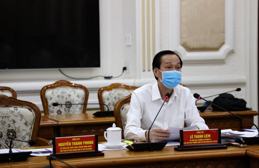 Phó Chủ tịch UBND TP.HCM Lê Thanh Liêm trong một cuộc họp về COVID-19