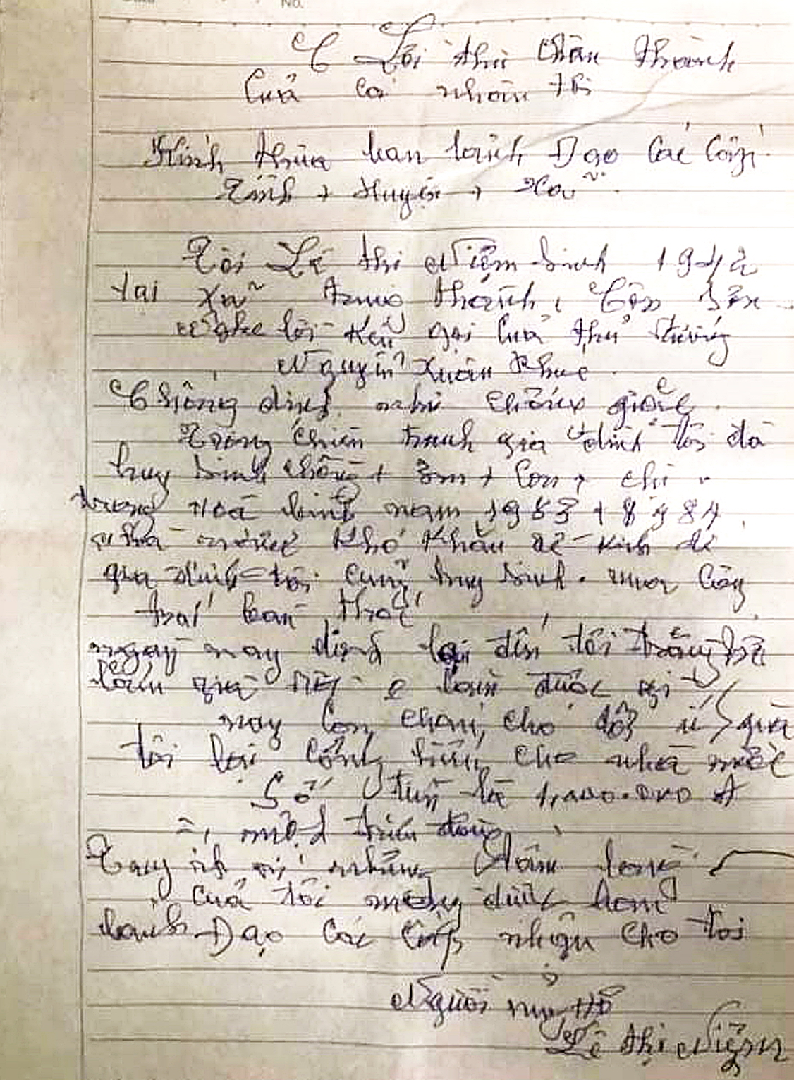 Lá thư giản dị của mẹ Lê Thị Niệm