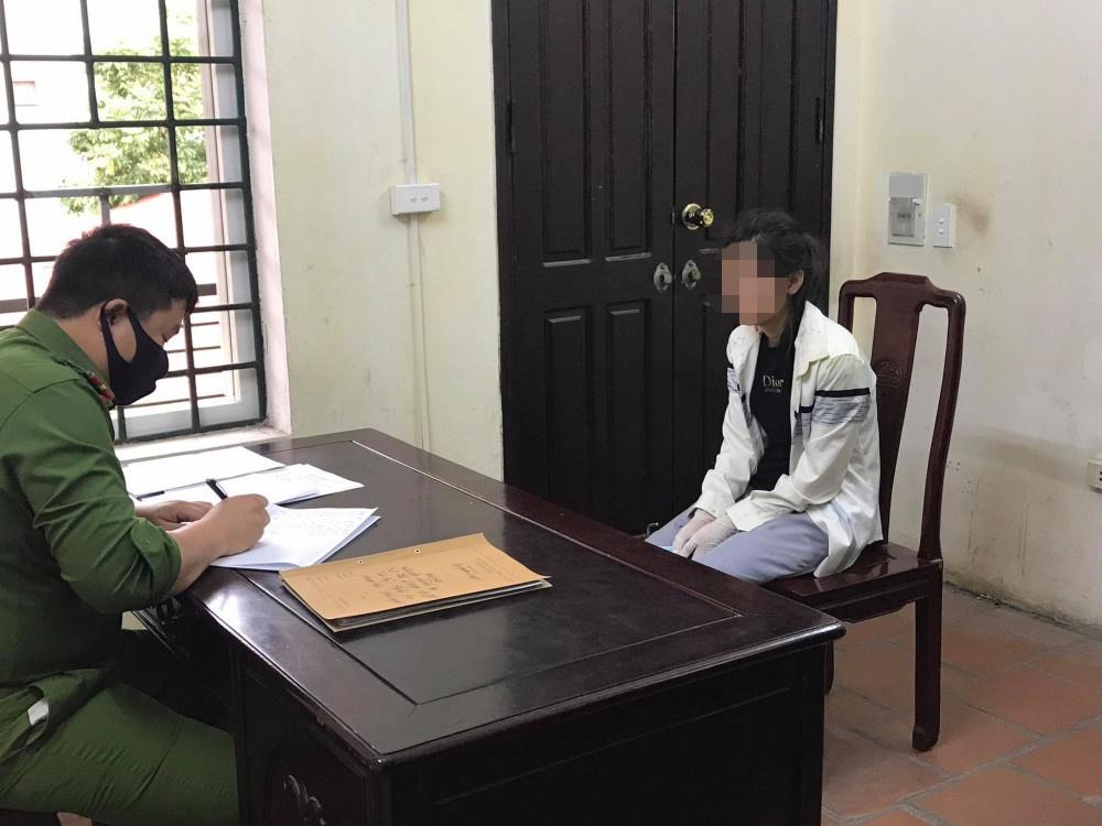 Vi Thị D. tại cơ quan điều tra - Ảnh: Công an tỉnh Bắc Ninh
