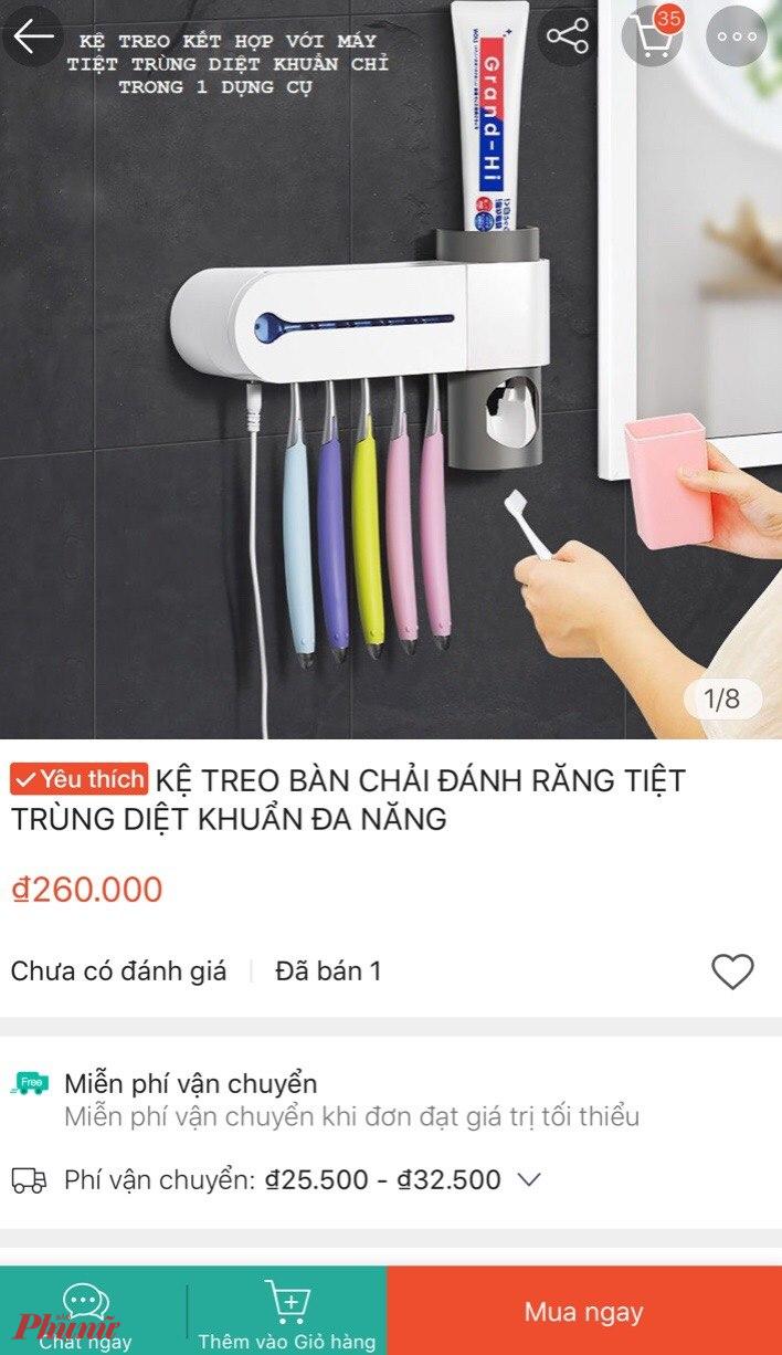 Kệ treo bàn chải đánh răng được rao bán, quảng cáo có tính năng diệt khuẩn