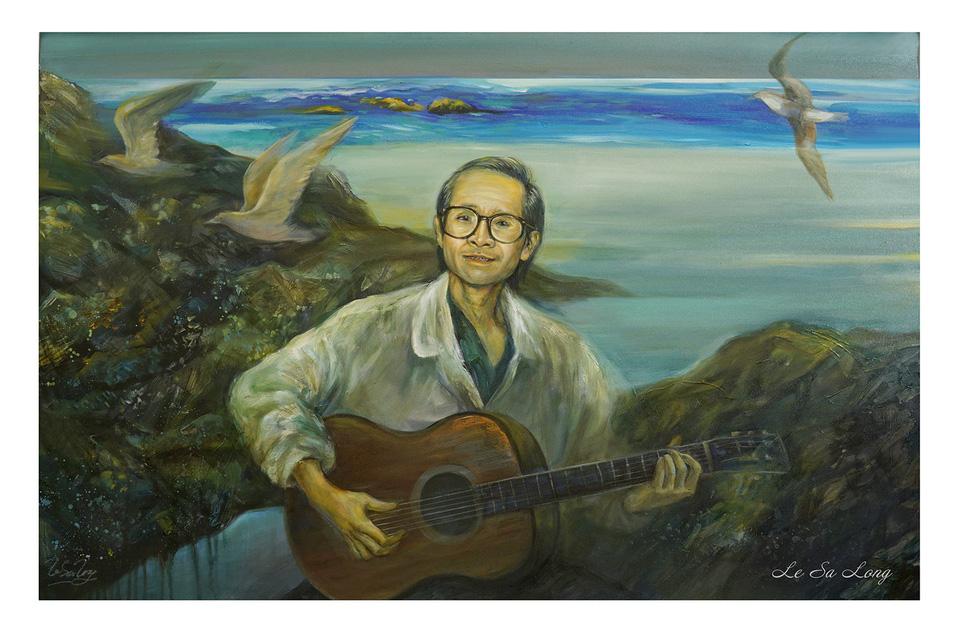 Một trong 32 bức tranh của hoạ sĩ Lê Sa Long trong triển lãm