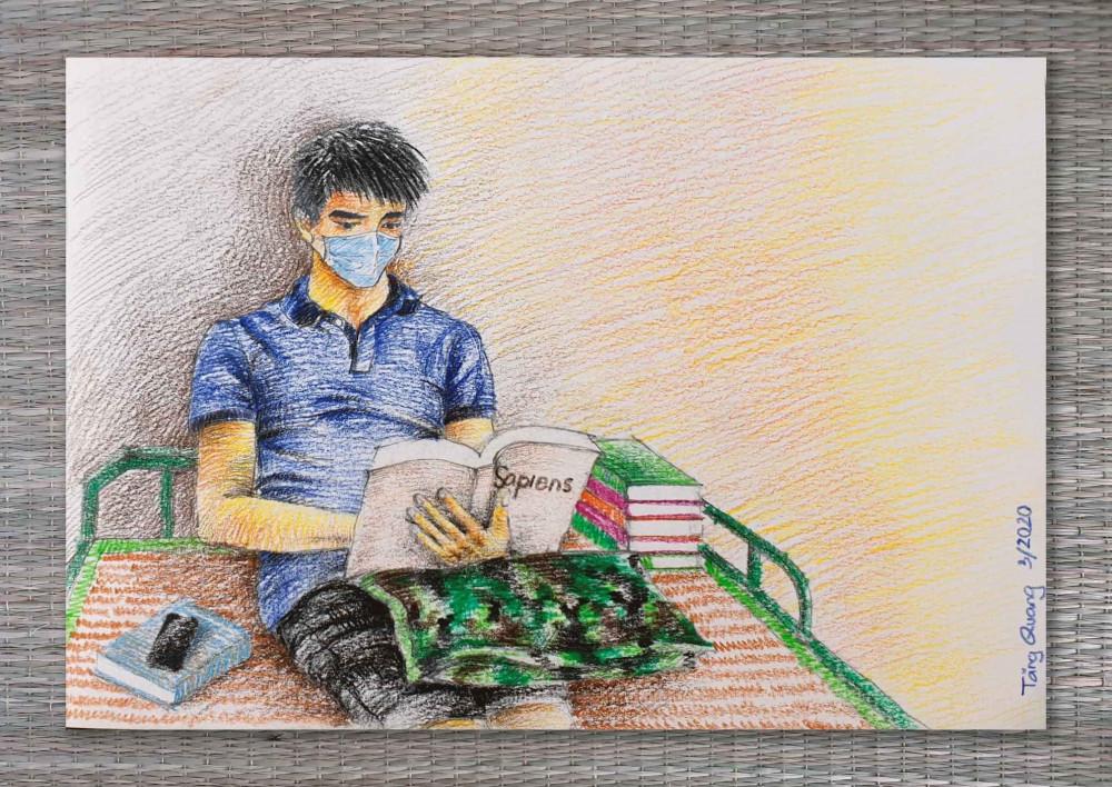 Ký học đọc sách trong khu cách ly của Tăng Quang. Ảnh: Facebook Tang Quang