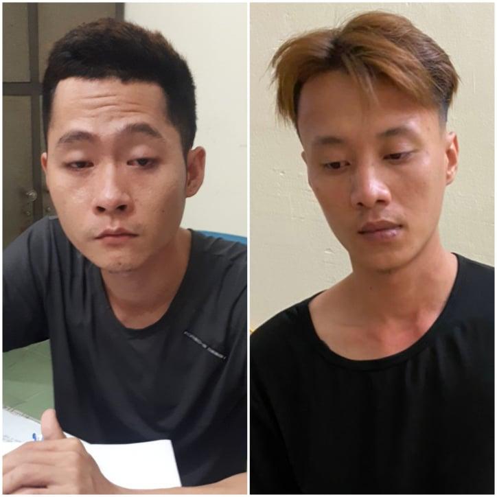 Hai đối tượng Thanh và Quang (từ trái qua) tại cơ quan điều tra.