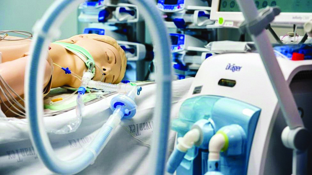 Máy thở do công ty Draeger, Đức sản xuất trưng bày tại một triển lãm thiết bị y tế vào tháng 3/2020 - Ảnh: Getty Image