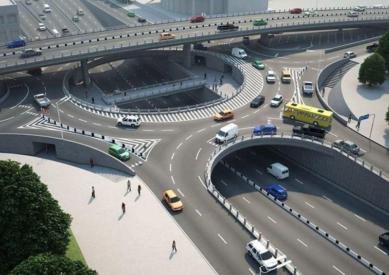 Phối cảnh nút giao thông khác mức 3 tầng phía tây cầu Trần Thị Lý