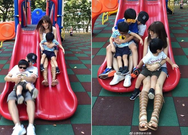 Gia đình của Lâm Chí Dĩnh trong một chuyến đi công viên năm 2019