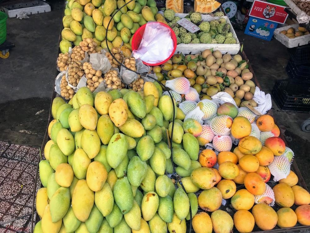 Còn tại các cửa hàng trái cây, ngoài các loại xoài keo, xoài ghép giá rẻ, xoài cát Hoà Lộc