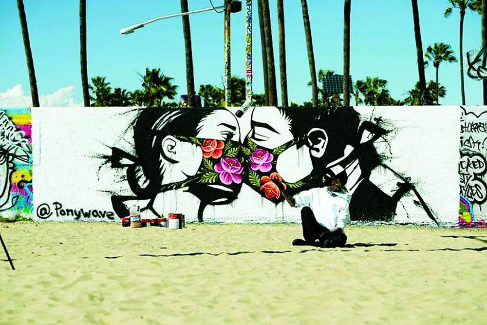 Tác phẩm nụ hôn thời COVID-19 của nghệ sĩ Ponywave