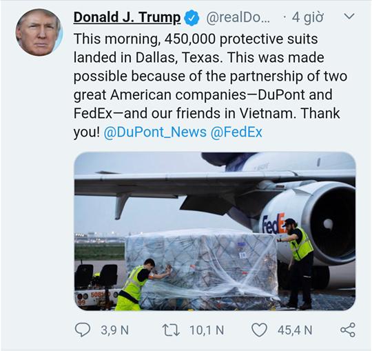 Tổng thống Donald Trump cảm ơn Việt Nam đã gửi tặng Mỹ 450.000 bộ ...