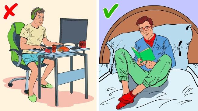 Đọc một cái gì đó bạn muốn ghi nhớ Các nhà khoa học từ Đại học Sussex đã chứng minh rằng đọc sách là cách tốt nhất để thư giãn vì lao vào một thế giới khác giúp loại bỏ căng thẳng khỏi các vấn đề hàng ngày tốt hơn cả trà và âm nhạc. Mỗi ngày. bạn chỉ cần dành 6 phút với một cuốn sách để giảm mức độ lo lắng và thư giãn các cơ bắp. Bộ não của bạn ghi nhớ mọi thứ tốt hơn vào ban đêm. Thực tế này thực sự giúp sinh viên học vào ban đêm để vượt qua kỳ thi của họ hơn hẳng. Điều đặc biệt chú ý là bạn không nên đọc bằng điện thoại hay máy tính mà hãy đọc sách giấy vì ánh sáng xanh hoàn toàn không tốt cho bạn, đặc biệt là khi giấc ngủ đang đến gần.