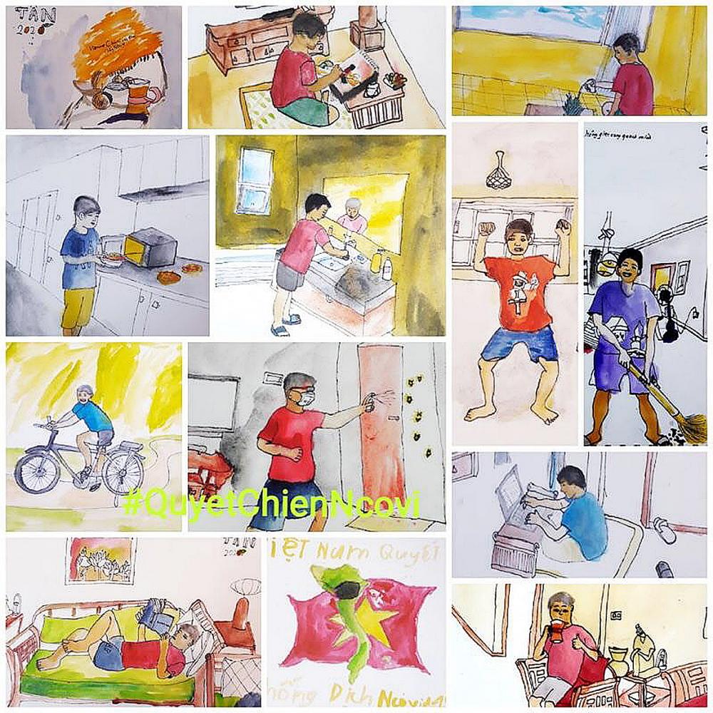 Ký họa của nhóm Ký họa đô thị Hà Nội về những ngày giãn cách xã hội