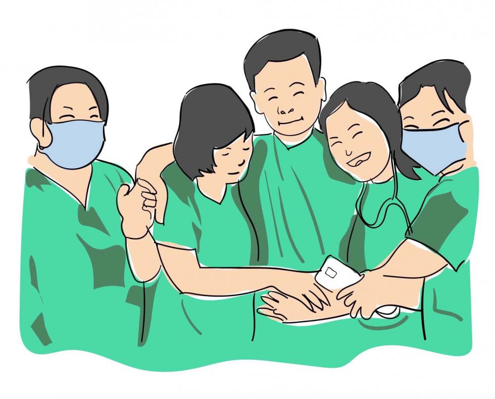 Ký họa của Tấn Nguyên, hình ảnh y bác sĩ Bình Thuận vui mừng vì bệnh nhân cuối cùng của tỉnh âm tính lần 1