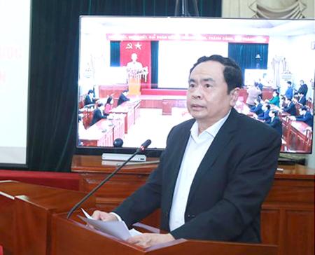 Chủ tịch Ủy ban Trung ương MTTQ Trần Thanh Mẫn tại lễ phát động trực tuyến.