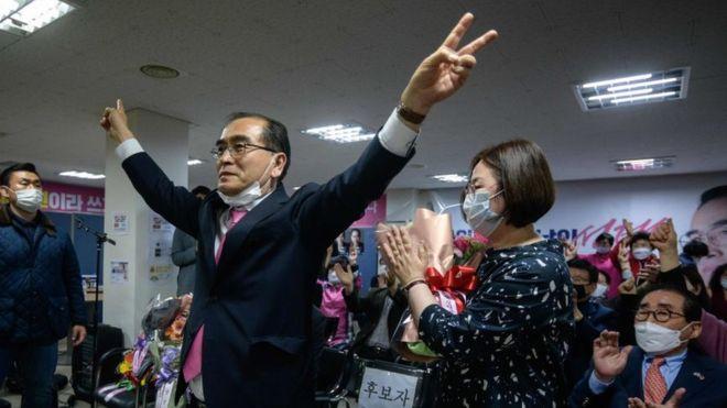 Ông Thae tranh cử với tư cách là ứng cử viên chính của đảng UFP tại quận Gangnam giàu có của Seoul - Ảnh: Getty Images