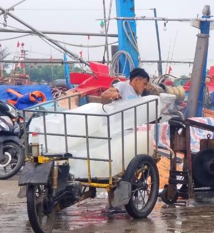 Nhiều lao động tại cảng cá nói rằng đeo khẩu trang khi làm việc càm thấy khá bất tiện