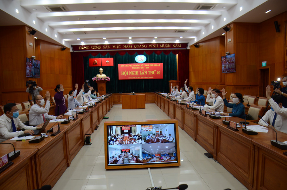 Hội nghị sáng 16/4 diễn ra dưới hình thức trực tuyến tại 12 điểm cầu ở TPHCM