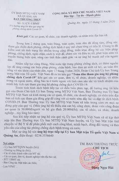 Từ ý kiên chỉ đạo của UBMTTQ huyện Quảng Điền, UBMTTQ xã Quảng An đã ra văn bản kêu gọi ủng hộ phòng chống chống dịch COVID-19