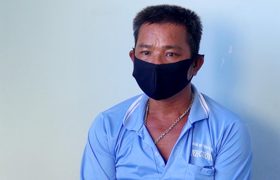 Đối tượng Huỳnh Văn Tam tại cơ quan công an - Ảnh: Kim Ngân