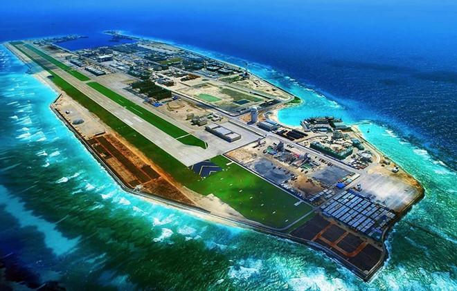 Đá Chữ Thập trong quần đảo Trường Sa của Việt Nam bị Trung Quốc chiếm đóng và xây thành đảo nhân tạo trái phép