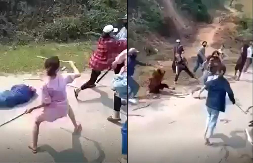 Hàng chục cô gái tay cầm gậy lao vào hỗn chiến nhau