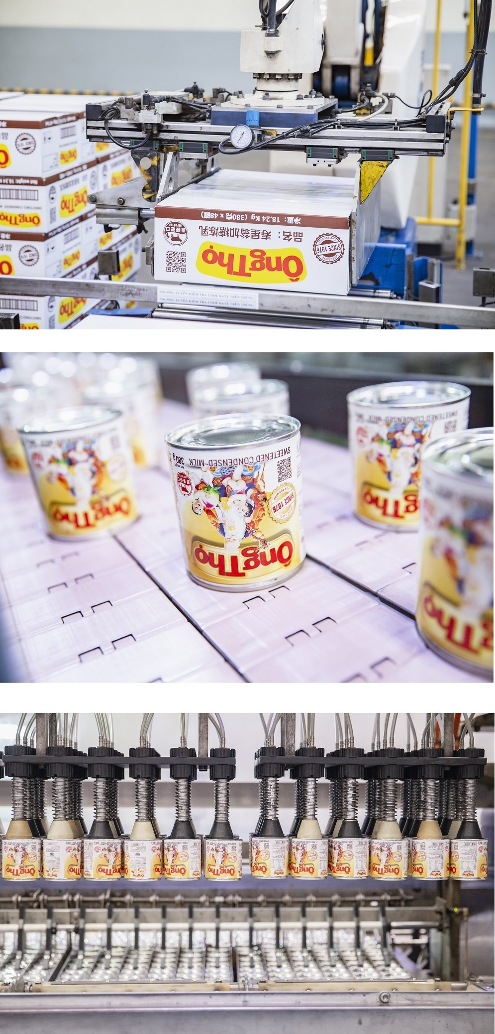 Cận cảnh những công đoạn sản xuất lô sữa đặc Vinamilk nhãn hiệu Ông Thọ xuất sang Trung Quốc