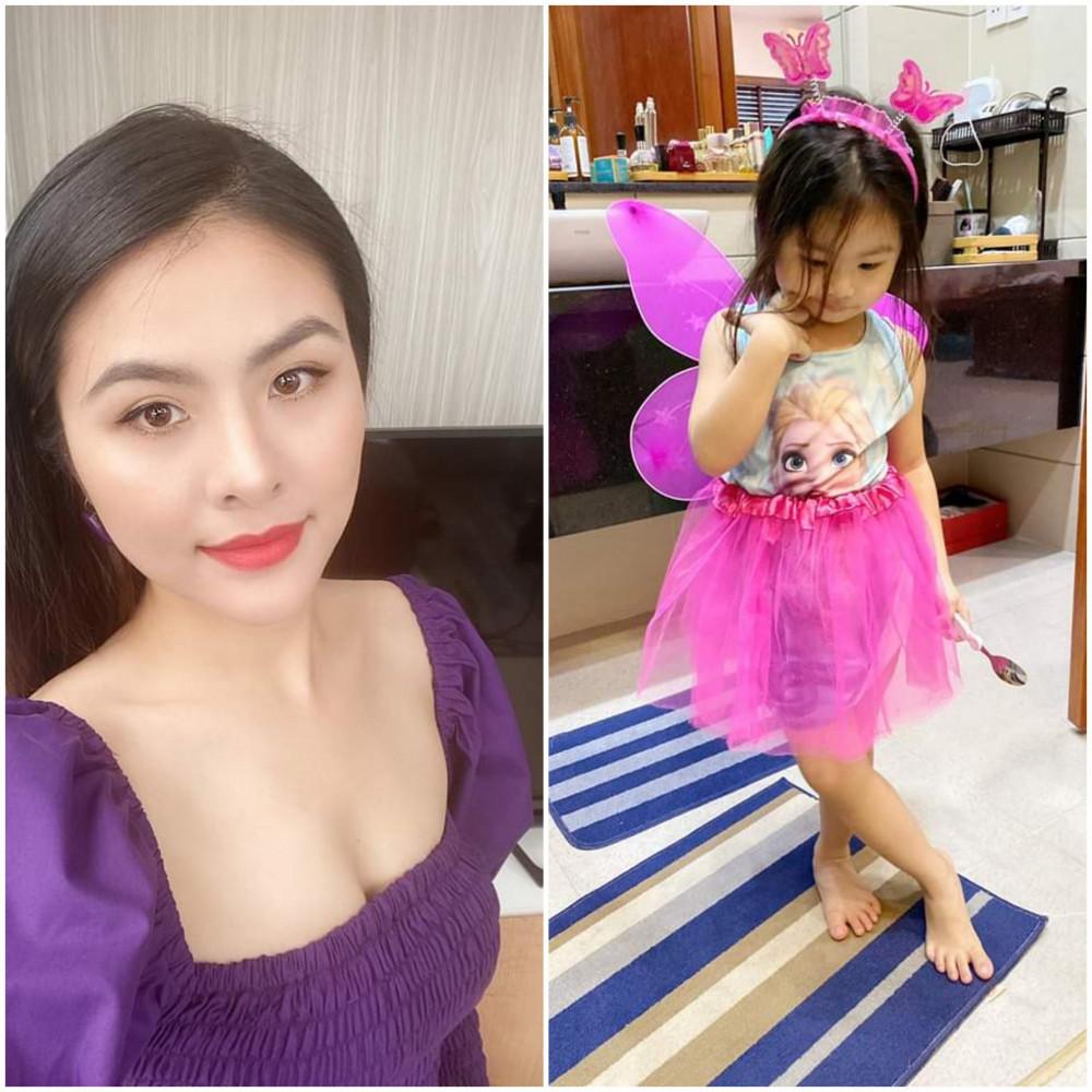 Vân Trang bận rộn chăm sóc con gái nhỏ.