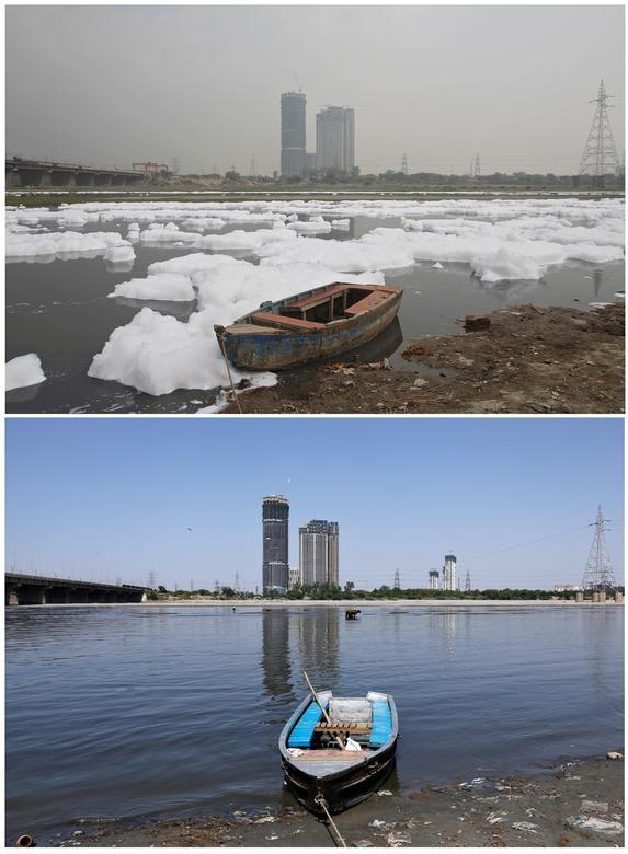 Dòng sông Yamuna (New Delhi, Ấn Độ) ô nhiễm nặng nề với nước thải từ các nhà máy tạo nên những đám bọt trắng xoá vào năm 2018. Trong thời gian đất nước phong toả, dòng sông đã trong và sạch hơn.