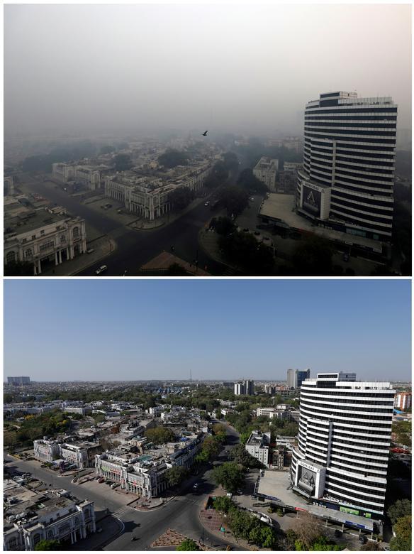 Hai bức ảnh chụp cùng một góc ở New Delhi, Ấn Độ vào tháng 11/2018 (trên) với bầu không khí xám xịt do ô nhiễm vào cuối tháng 3/2020 (ảnh dưới) trông trong lành, thoáng đãng hơn.