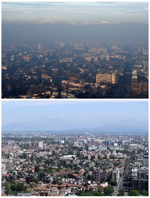 Tại châu Âu, từ giữa tháng 3, nhiều quốc gia ghi nhận tình trạng ô nhiễm không khí giảm thiểu đáng kể. Trong ảnh là thành phố Milan trước và sau khi bị phong toả do dịch bệnh, cho thấy rõ bầu không khí sạch, thoáng đãng hơn rất nhiều.