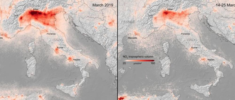 Ảnh từ vệ tinh cho thấy hàm lượng chất gây ô nhiễm không khí tại Ý đã thay đổi rõ rệt vào