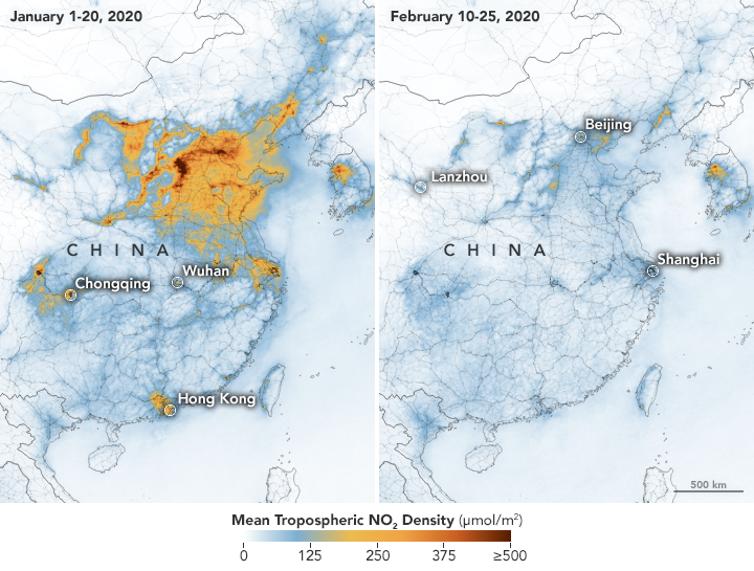 Hình ảnh từ vệ tinh cho thấy mức độ ô nhiễm không khí tại Trung Quốc giảm thiểu rõ rệt chỉ trong thời gian ngắn khi dịch bệnh xảy ra.