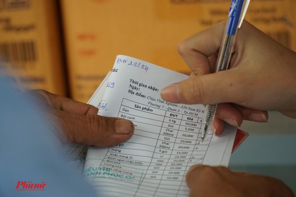 Tình nguyện viên sẽ hỗ trợ người dân lấy thực phẩm theo phiếu được yêu cầu