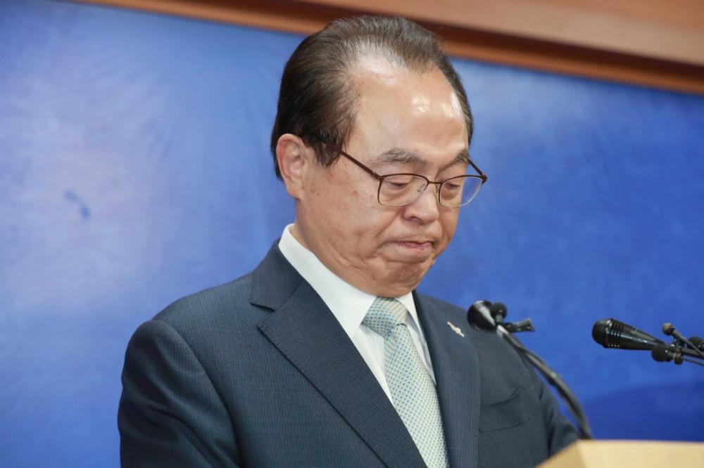 Ông Oh Keo-don tại cuộc họp báo ngày 23/4. Ảnh: Yonhap