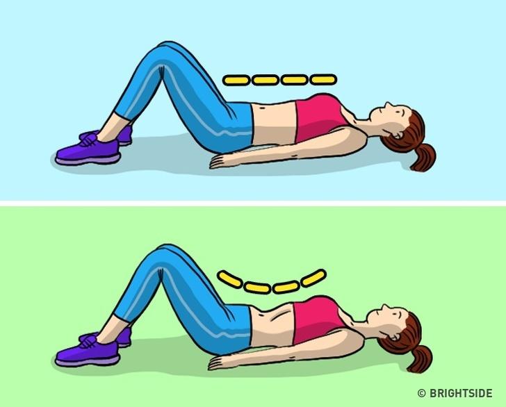 Thay thế nó bằng bài tập chân không trực tiếp Hóp bụng càng nhiều càng tốt. Giữ tư thế này trong vài giây và sau đó thư giãn. Ban đầu, sẽ khá khó để thực hiện bài tập này nhưng khi bạn học cách thực hiện đúng và bắt đầu thực hiện thường xuyên, bạn sẽ nhận thấy kết quả ngay sau đó.