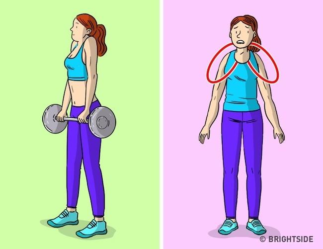 Shrugs với quả tạ hoặc một thanh tạ Nhún vai là một bài tập mà bạn nâng vai với tạ. Bài tập này được gọi là cô lập vì một vận động viên có thể phóng to cơ ở phần vai gáy mà không liên quan đến các cơ khác. Nghe có vẻ tốt, nhưng hãy cẩn thận vì vai rộng có vẻ tốt với đàn ông, không phải đối với phụ nữ