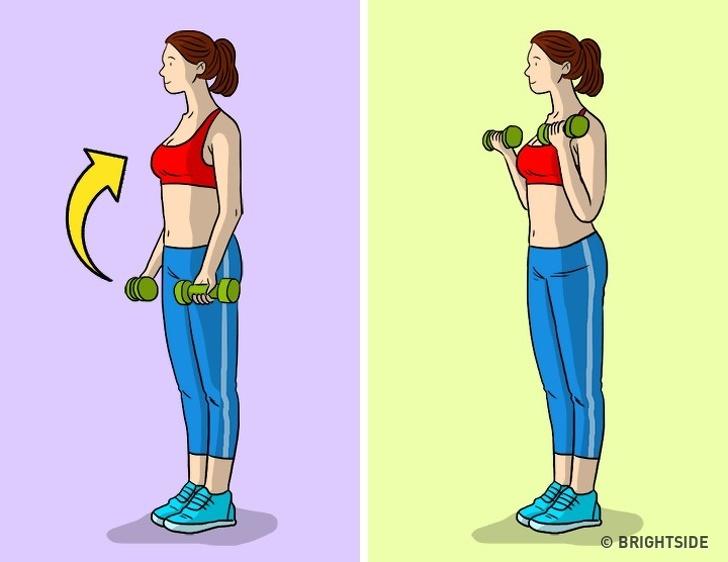 Thay thế nó bằng thang máy cánh tay với quả tạ. Tốt hơn là thực hiện nâng cánh tay với thanh tạ để làm săn chắc cơ bắp cánh tay của bạn. Chọn trọng lượng phù hợp với bạn, ấn tay lên cơ thể và nâng chúng từ từ lên vai.