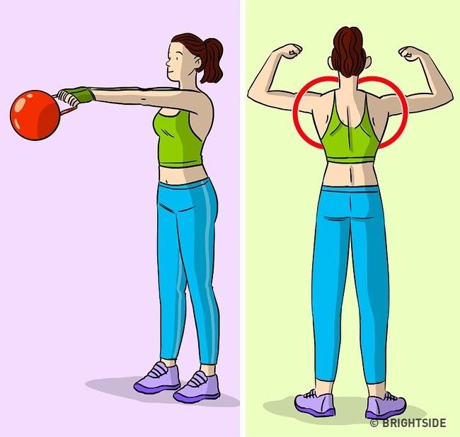 Nâng thanh tạ và tạ trước mặt bạn Khi thực hiện bài tập này, hãy làm theo nguyên tắc đơn giản này: đừng thăng nâng tạ cao hơn mức vai của bạn. Việc định vị sai cánh tay của bạn chắc chắn sẽ tác động lên cơ ở phần vai gáy