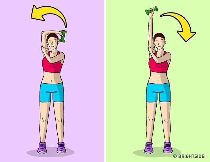 Thay thế nó bằng uốn cong cánh tay Một vấn đề phổ biến đối với nhiều phụ nữ là phần bên trong của cánh tay được gọi là cơ tam đầu. Đặt cánh tay của bạn phía sau đầu của bạn, đặt lòng bàn tay của một cánh tay đến khuỷu tay còn lại và uốn cong nó từ từ.