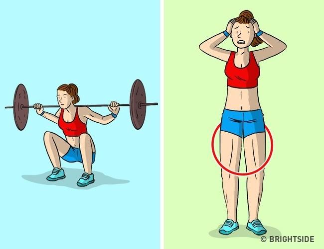 Squats với trọng lượng nặng Chúng tôi đã đề cập ở trên rằng squats với trọng lượng nặng có thể làm hỏng vòng eo của bạn. Nhưng nó không chỉ về vòng eo của bạn - mà còn về đôi chân của bạn. Đầu tiên, các bài tập chuyên sâu có thể làm cho hông của bạn trông bớt nữ tính và cồng kềnh. Thứ hai, trọng lượng nặng có thể làm hỏng không chỉ con số của bạn, mà còn có thể gây hại cho đầu gối và lưng dưới của bạn.