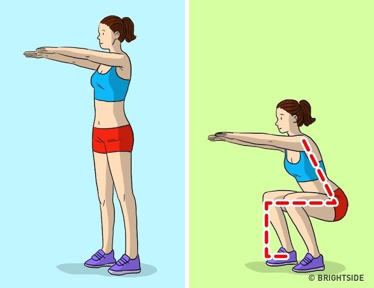 Thay thế chúng bằng squats không có trọng lượng Tập squats không có trọng lượng hoặc với trọng lượng nhỏ. Hãy chắc chắn rằng bàn chân của bạn được đặt đúng vị trí. Đầu gối không nên vượt quá ngón chân của bạn tác động đến cơ mông của bạn trong lúc tập luyện.