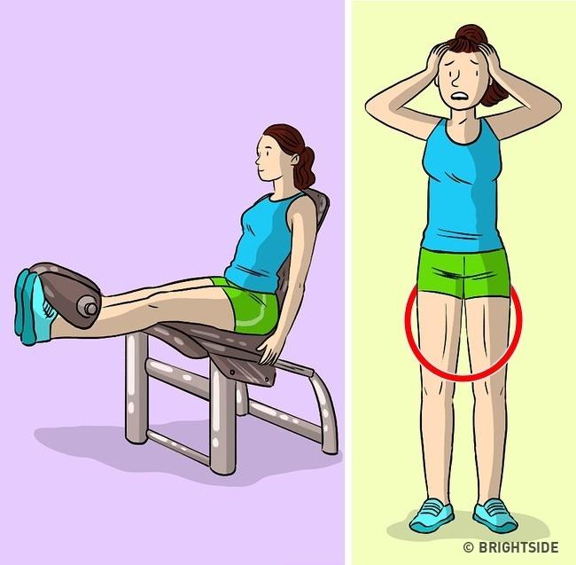Không có chân trên máy tập thể dục Có hàng tá cách để thực hiện bài tập này. Tuy nhiên, nó không giúp hông bạn thon gọn hơn mà các cơ bắp chân của bạn sẽ trở nên to hơn.