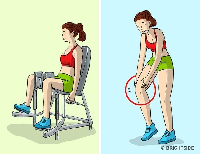 Kéo hai chân vào nhau trên máy tập Một khu vực vấn đề phổ biến khác cho phụ nữ là khu vực đùi trong. Để loại bỏ mỡ ở đùi bên trong, phụ nữ thường kéo hai chân vào nhau trên máy tập. Jamie Eason Middleton tin rằng vị trí không tự nhiên này của cơ thể không chỉ liên quan đến cơ bắp mà còn cả các khớp hỗ trợ chúng. Nó có thể không mang lại kết quả như mong đợi và cũng có thể gây hại.