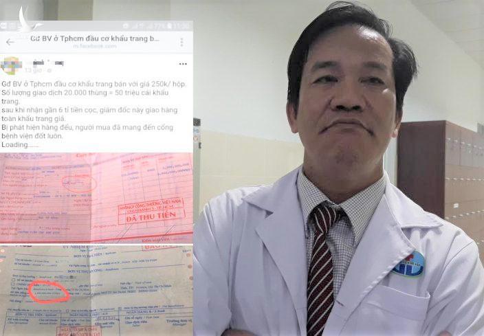 Ông Phạm Hữu Quốc - giám đốc Bệnh viện Gò Vấp và số biên lai chứng từ tố cáo ông đầu cơ khẩu trang. Ảnh: Hiếu Nguyễn