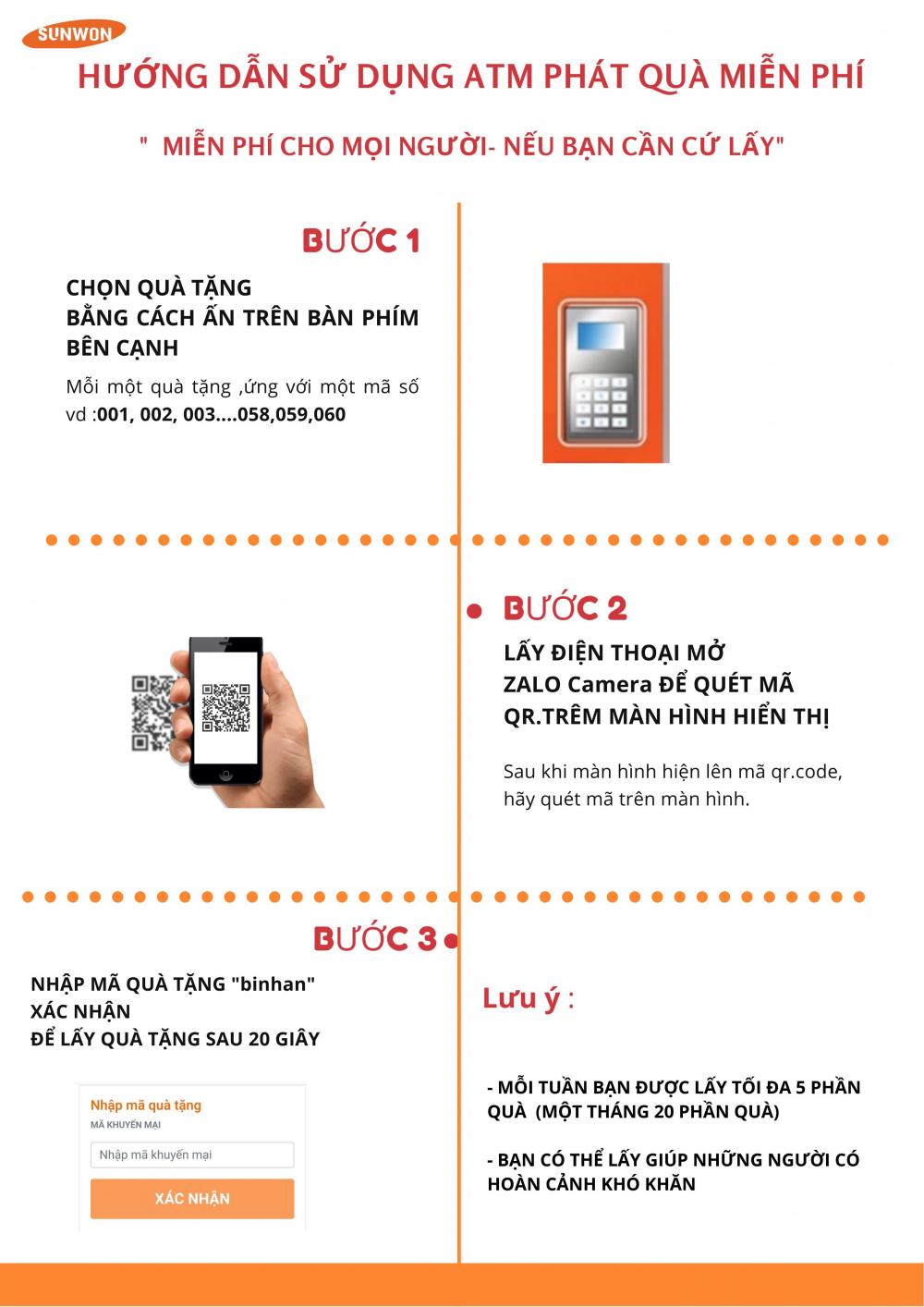Bảng hưởng dẫn cách lấy quà bằng smartphone.