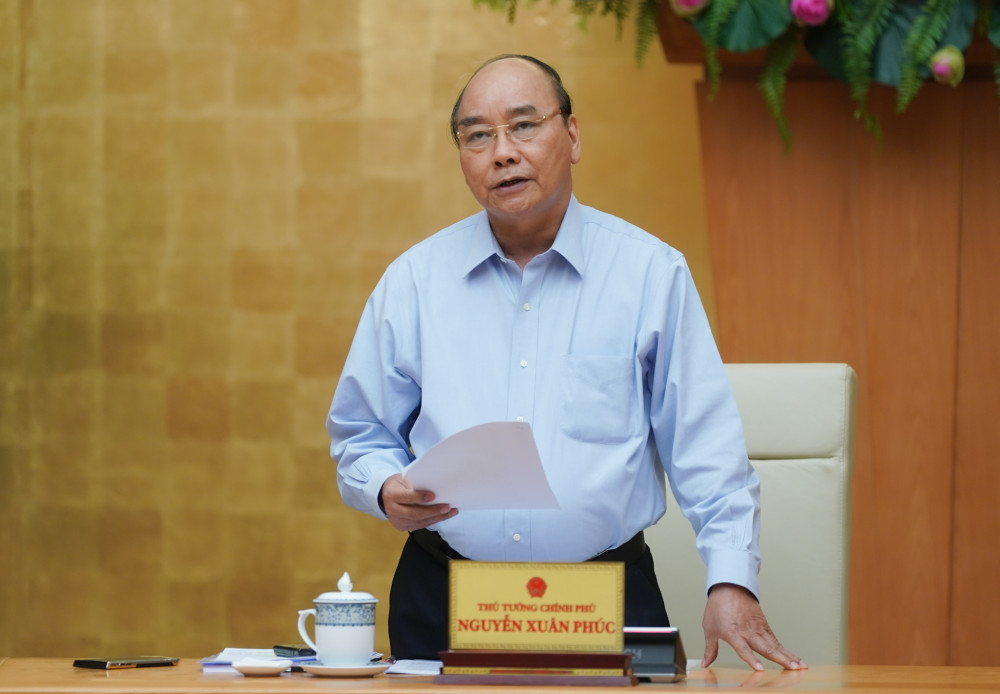 Thủ tướng Nguyễn Xuân Phúc chủ trì cuộc họp trực tuyến.