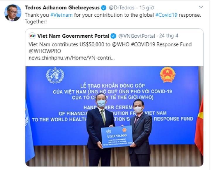 Lời cảm ơn đăng tải trên Twitter của ông Tedros Adhanom Ghebreyesus