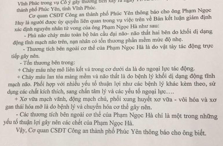 Kết luận giám định pháp y của ông Hà.
