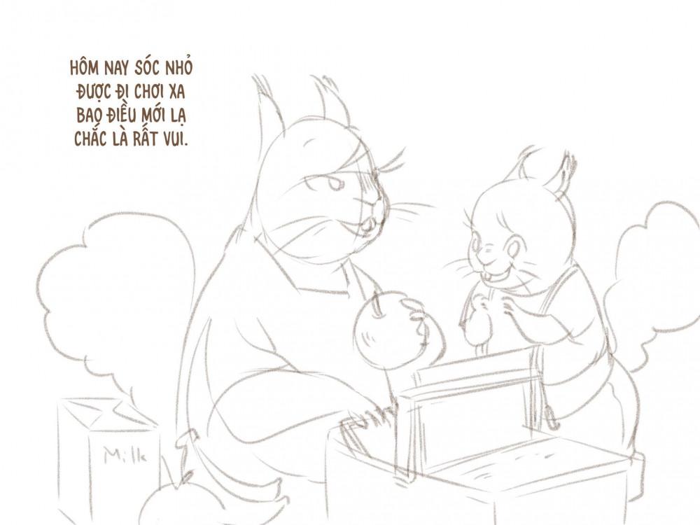 Phác thảo truyện tranh dành cho em bé Sóc do nhà thiết kế Lan Hương sáng tác