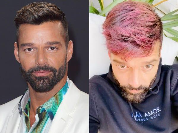 Ricky Martin đã khoe mái tóc mới màu hồng của mình được anh tự làm mới trong khi cách ly xã hội.